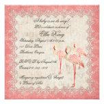 Vintage Pink Rose Flamingos Baby Invitation