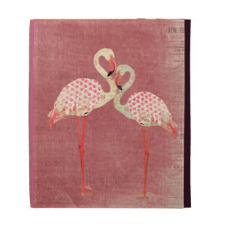 Vintage Pink Rose Flamingos Caseable Case iPad Folio Cover
