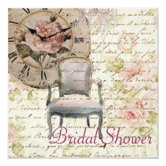 Vintage Pink Rose Floral Bridal Shower Invitation
