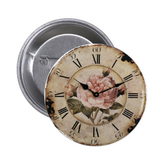 Vintage Pink Rose Floral Clock Wedding Favor 2 Inch Round Button