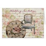 Vintage Pink Rose Floral Clock Wedding Favor Cards