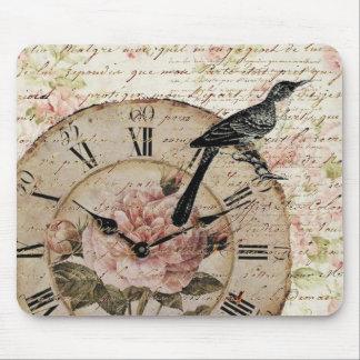 Vintage Pink Rose Floral Clock Wedding Favor Mouse Pads