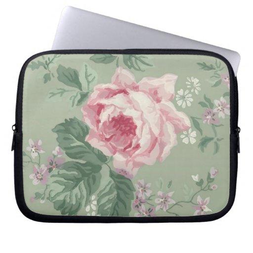 Vintage Pink Rose Floral laptop sleeve