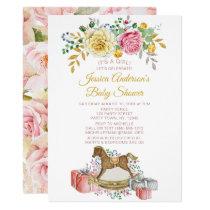 Vintage Pink Rose Floral Rocking Horse Baby Shower Invitation