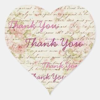 Vintage Pink Rose Floral steampunk Wedding Heart Sticker