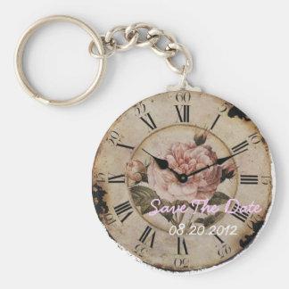 Vintage Pink Rose Floral steampunk Wedding Keychain