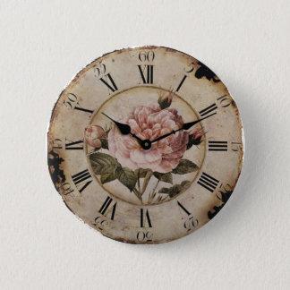 Vintage Pink Rose Floral steampunk Wedding Pinback Button