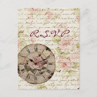 Vintage Pink Rose Floral steampunk Wedding RSVP Invitation Postcard