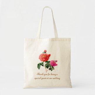 Vintage pink rose flower thank you wedding favor tote bag