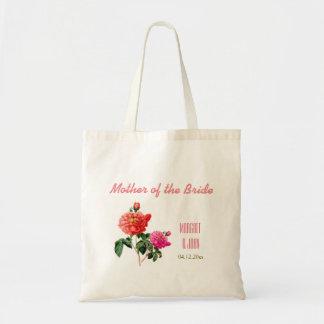 vintage pink rose flowers mother of bride tote bag