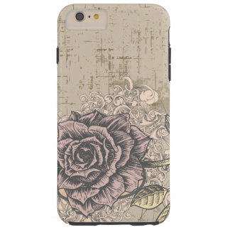 Vintage Pink Rose Grunge Background Tough iPhone 6 Plus Case