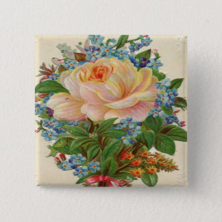 Vintage Pink Rose, Happy Birthday Mother Button