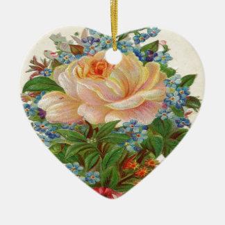 Vintage Pink Rose, Happy Birthday Mother Ceramic Ornament