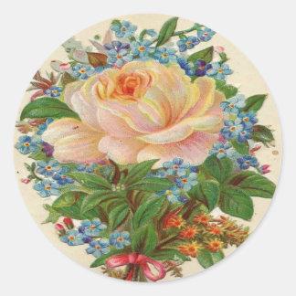 Vintage Pink Rose, Happy Birthday Mother Classic Round Sticker