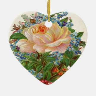 Vintage Pink Rose, Happy Birthday Mother Double-Sided Heart Ceramic Christmas Ornament