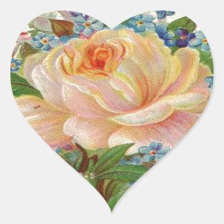 Vintage Pink Rose, Happy Birthday Mother Heart Sticker