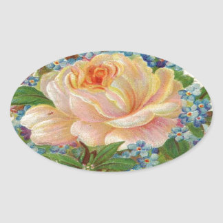 Vintage Pink Rose, Happy Birthday Mother Oval Sticker