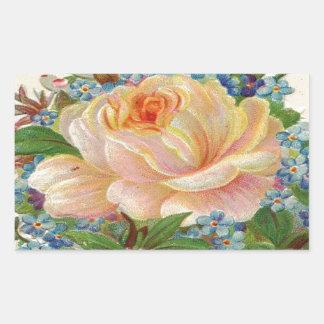 Vintage Pink Rose, Happy Birthday Mother Rectangular Sticker