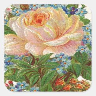 Vintage Pink Rose, Happy Birthday Mother Square Sticker