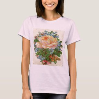 Vintage Pink Rose, Happy Birthday Mother T-Shirt