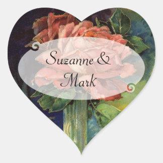 Vintage Pink Rose Heart Heart Sticker