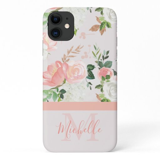 Vintage Pink Rose Monogram and Name iPhone 11 Case