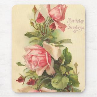 Vintage Pink Rose Mouse Pad