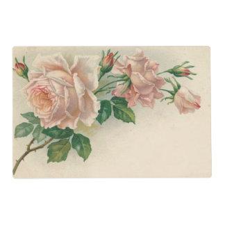 Vintage Pink Rose Laminated Place Mat