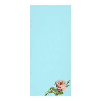 Vintage Pink Rose on Pale Aqua Rack Card