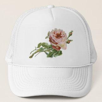 Vintage Pink Rose on Pale Aqua Trucker Hat