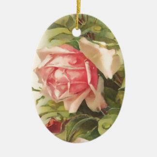 Vintage Pink Rose Oval Ceramic Ornament