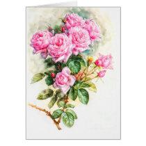 Vintage Pink Rose Painting Restored Blank