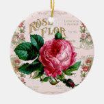 Vintage Pink Rose Paris Script pretty Ceramic Ornament