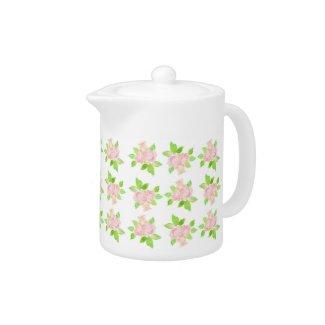 Vintage Pink Rose Pattern Tea Pot