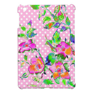 Vintage Pink Rose -pink/white polka-dots Case For The iPad Mini