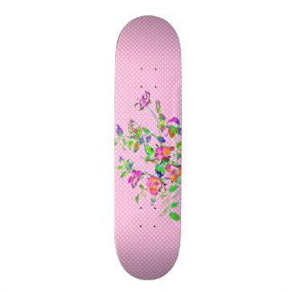 Vintage pink rose polka-dots skateboard deck