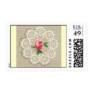 Vintage Pink Rose Postage Stamp