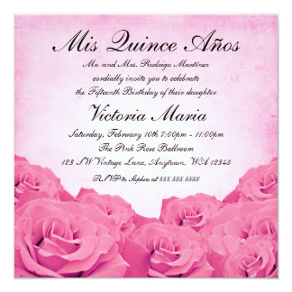 Vintage Pink Rose Quinceanera Birthday Party Card
