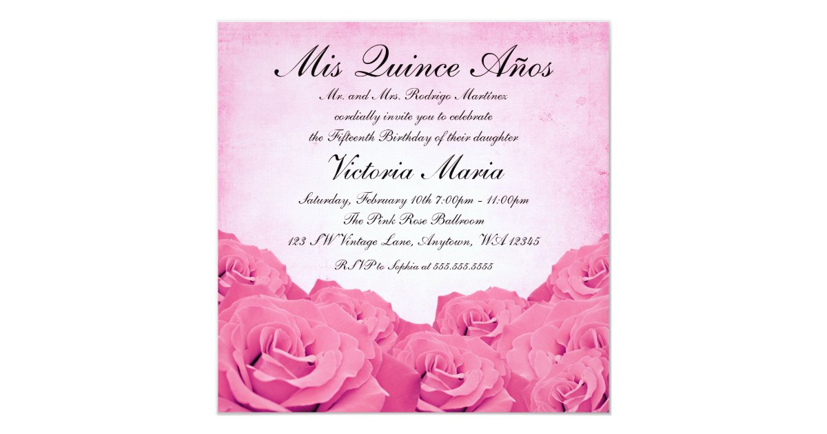 Vintage Pink Rose Quinceanera Birthday Party Card  Zazzle