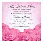 Vintage Pink Rose Quinceanera Birthday Party Personalized Invite