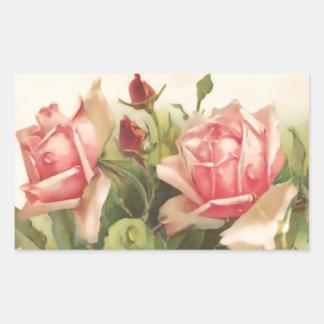 Vintage Pink Rose Rectangular Sticker