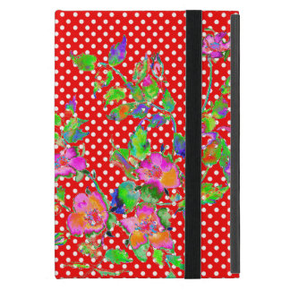 Vintage Pink Rose red/white polka-dots Case For iPad Mini