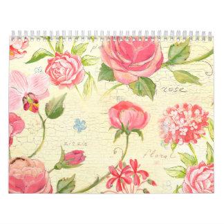 Vintage Pink Rose Rustic Cottage Chic French Calendar