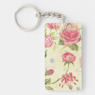 Vintage Pink Rose Rustic Cottage Chic French Double-Sided Rectangular Acrylic Keychain