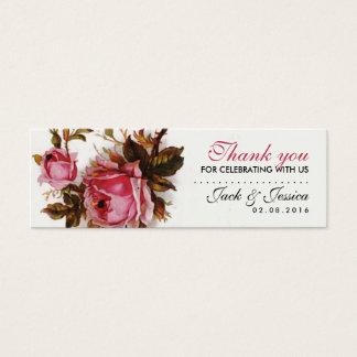 Vintage Pink Rose Slim Thank You Tag for Wedding
