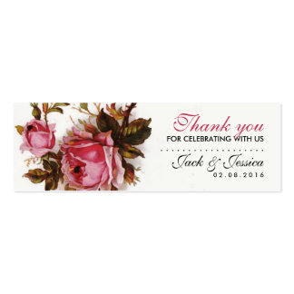 Vintage Pink Rose Slim Thank You Tag for Wedding Mini Business Card