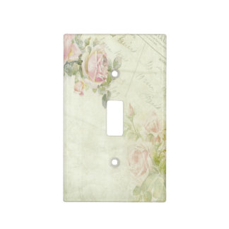 Vintage Pink Rose Stationery Flower Faerie Light Switch Cover