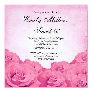 Vintage Pink Rose Sweet 16 Birthday Party Card