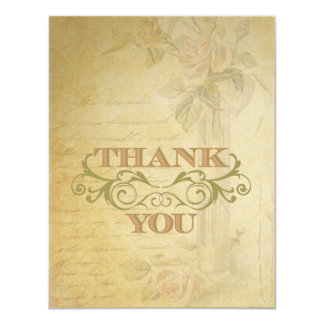 Vintage Pink Rose & Swirl Wedding Thank You Cards