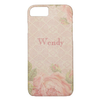Vintage Pink Rose Trellis Personalized iPhone 8/7 Case
